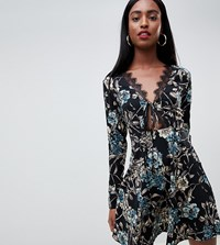 Missguided Tall Lace Trim Skater Dress In Floral Blue Floral Multi