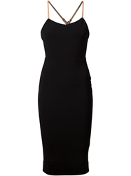 Victoria Beckham Leather Strap Fitted Dress Black