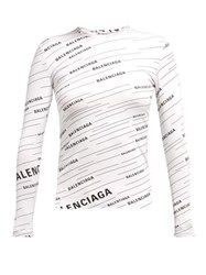 Balenciaga Diagonal Logo Stretch Jersey Top White Black