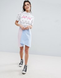 Asos Asymmetric Hem Mini Skirt With Stripe And Gingham Mix Pink Blue White Multi