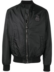 Billionaire Lion Print Bomber Jacket Black