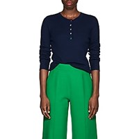 Lisa Perry Rib Knit Cashmere Henley Navy