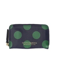 Scotch And Soda Blue Dots Zipped Leather Coin Wallet