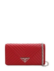 Prada Quilted Nappa Leather Chain Shoulder Bag Red