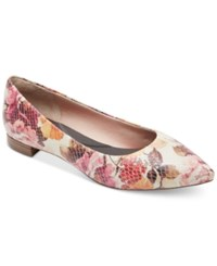 Rockport Women's Total Motion Adelyn Pointed Toe Flats Women's Shoes Pink Floral