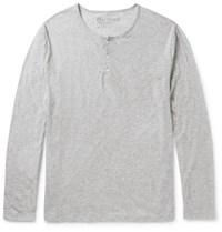 Hartford Slim Fit Melange Cotton Jersey Henley T Shirt Gray