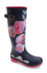 Joules Women's 'Welly' Print Rain Boot French Navy Beau Bloom