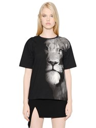 Versus Lion Printed Cotton Jersey T Shirt