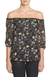 1.State Floral Print Chiffon Off The Shoulder Shirt Multi