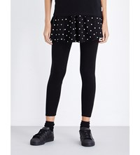 Chocoolate Star Print Stretch Cotton Skirt Black