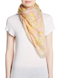 Versace Baroque Print Modal And Flax Shawl Scarf Pink Gold