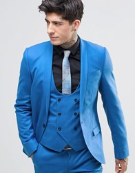 Noose And Monkey Super Skinny Suit Jacket With Stretch Cornflour Blue