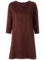 Andrea Bogosian Shift Dress Women Linen Flax Viscose Wool P Brown