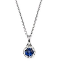 Judith Ripka Round Pave Pendant Necklace With White Sapphire And Blue Corundum 17 Blue Silver