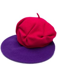 Le Chapeau Contrasting Design Beret Pink And Purple