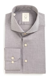 Strong Suit Men's Big And Tall 'Espirit' Trim Fit Herringbone Dress Shirt Chocolate Herringbone