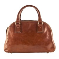 Maxwell Scott Bags Luxury Italian Leather Women's Bowling Bag Liliana S Chestnut Tan Brown