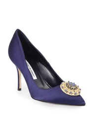 Manolo Blahnik Giuba Jeweled Satin Pumps Navy
