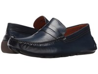 Massimo Matteo Burnished Penny Driver Azul Men's Slip On Dress Shoes Blue