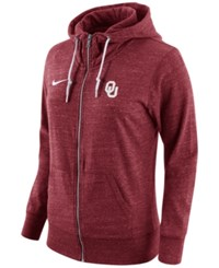 Nike Women's Oklahoma Sooners Tailgate Gym Vintage Full Zip Hoodie Red Heather
