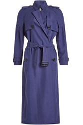Burberry London Mulberry Silk Trench Coat Blue