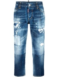 Dsquared2 Boyfriend Distressed Bleached Jeans Blue