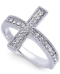 Joan Boyce Silver Tone Crystal East West Cross Ring White
