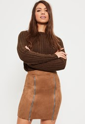 Missguided Brown Faux Suede Double Zip Front Mini Skirt Tan