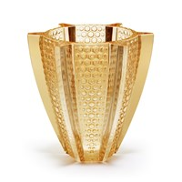 Lalique Rayons Vase Gold Luster
