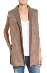 Velvet By Graham And Spencer Women's Faux Shearling Reversible Vest Mink Grey