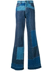 Diesel Black Gold Patchwork Bootcut Jeans Blue