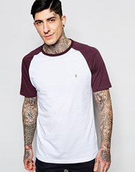 Farah T Shirt With Contrast Raglan Sleeves Slim Fit Exclusive Red