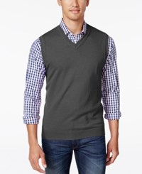 Club Room Men's Big And Tall Heartland V Neck Sweater Vest Charcoal Heather