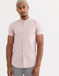 Topman Short Sleeve Oxford Shirt In Pink