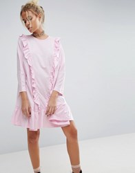 Asos Cotton Smock Dress With Frill Detail Baby Pink