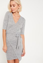 Missguided Grey Wrap Front Tie Waist Dress
