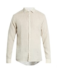 Etro Button Cuff Linen Shirt Beige