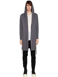 Rick Owens Hooded Cashmere Knit Cardigan W Belt Iron