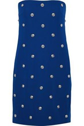 Versus By Versace Woman Strapless Button Embellished Stretch Crepe Mini Dress Cobalt Blue