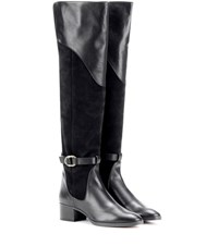 Chloe Suede And Leather Knee High Boots Black