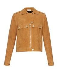 Courreges Zip Through Suede Jacket Tan