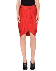 Roccobarocco Knee Length Skirts Red