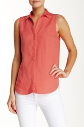 Andrea Jovine Sleeveless Collared Blouse Orange