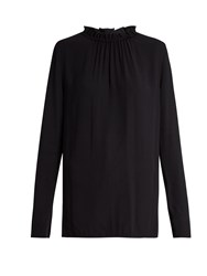 Marni Buttoned Back Ruffled Neck Crepe Blouse Navy