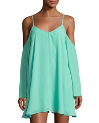 Lucca Couture Cold Shoulder Swing Dress Teal