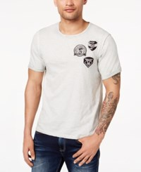 Buffalo David Bitton Men's Embroidered Patch T Shirt Dirty White