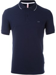 Sun 68 Contrast Trim Polo Shirt Blue