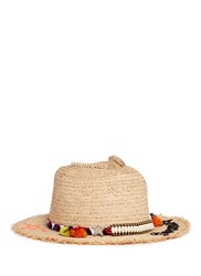 Venna 'Dreaming' Beaded Pompom Embroidered Straw Hat Neutral