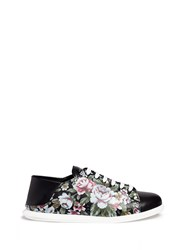 Alexander Mcqueen Floral Print Leather Step In Sneakers Multi Colour