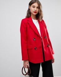 Warehouse Short Double Breasted Blazer Coat In Red